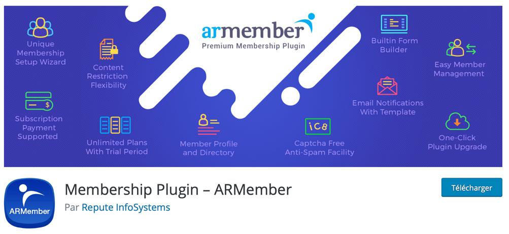 ARMember est un plugin d'espace membres pour WordPress