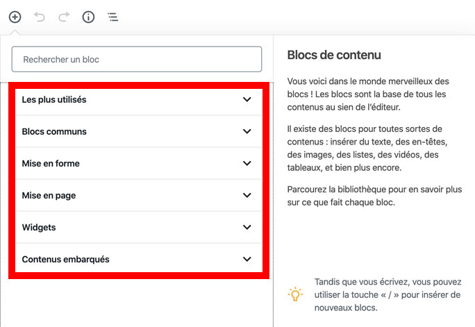 Blocs Gutenberg sur WordPress
