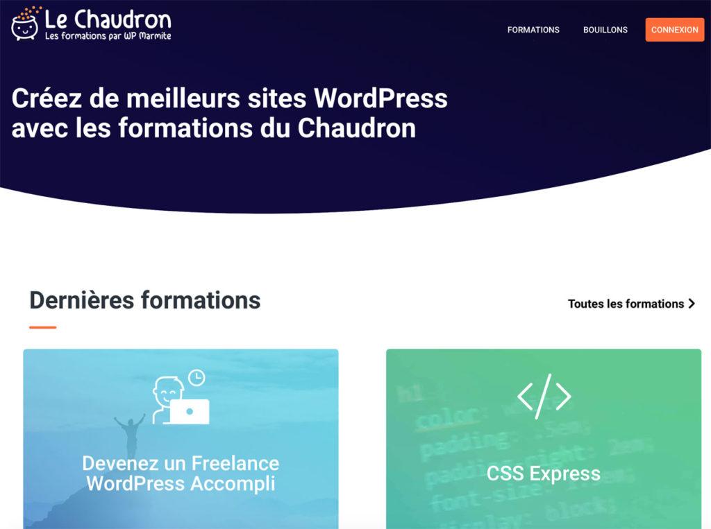 La page de présentation du Chaudron de WPMarmite