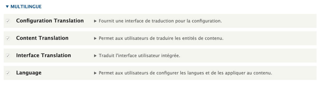 Les modules multilingue de Drupal
