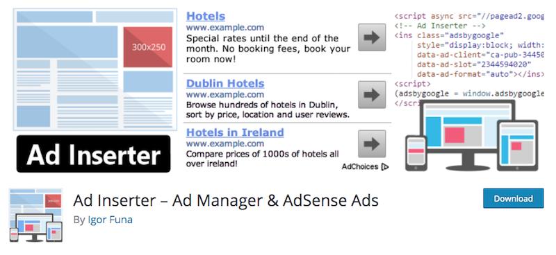 Ad Inserter, un plugin de publicité pour WordPress