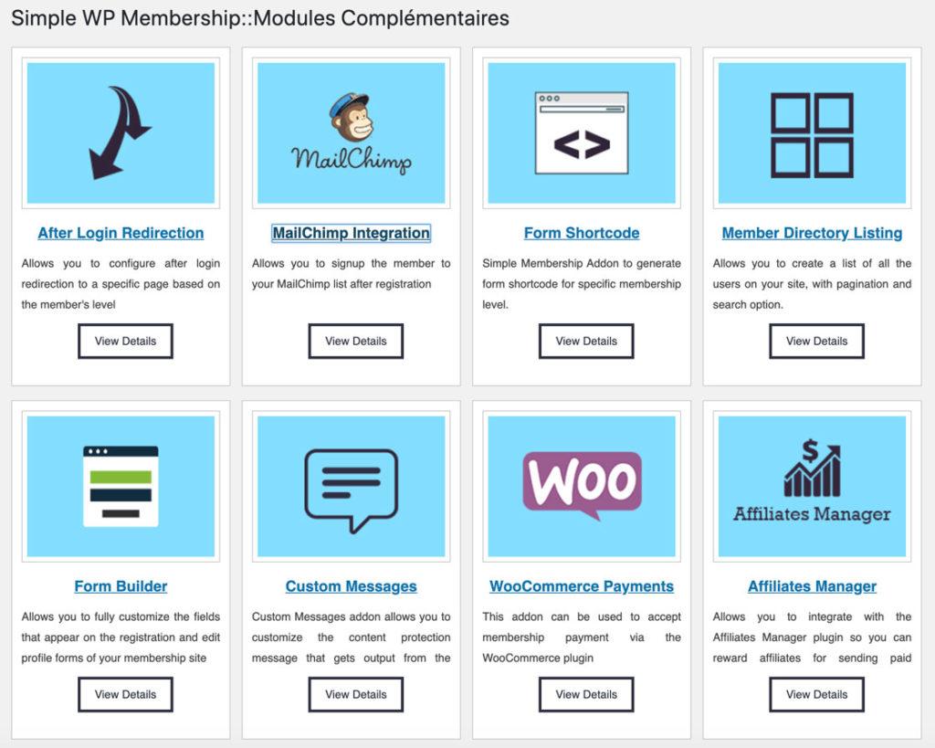 Modules complémentaires de Simple WP Membership
