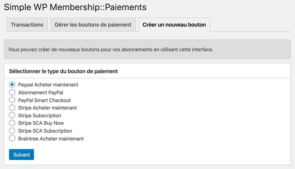 Paiements sur Simple WP Membership