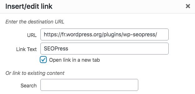 Adding a link in your table with TablePress