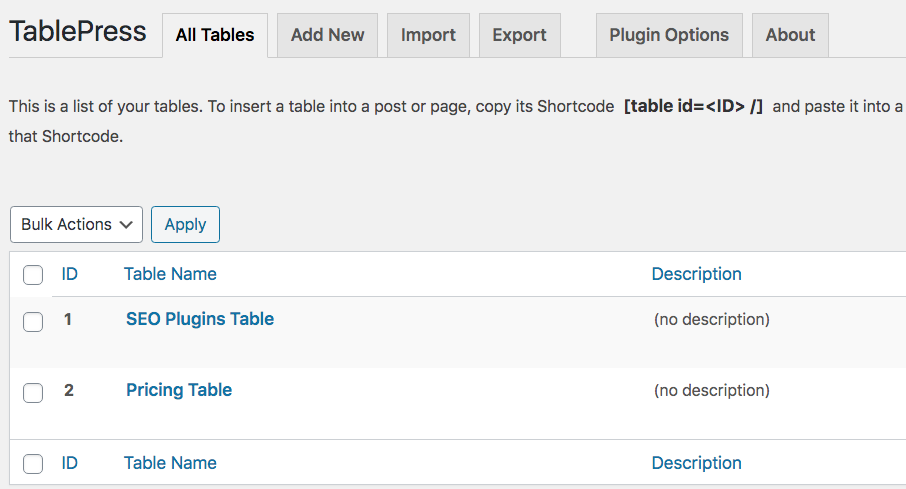 All your tables are located in the plugin's interface