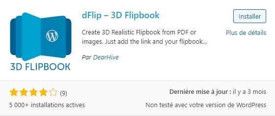 Le plugin dFlip-3D Flipbook permet de créer une visionneuse PDF en mode flipbook