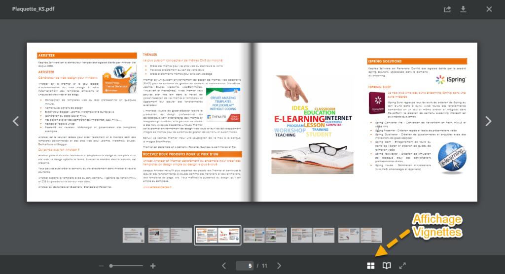 Un exemple de visionneuse PDF et de ses commandes