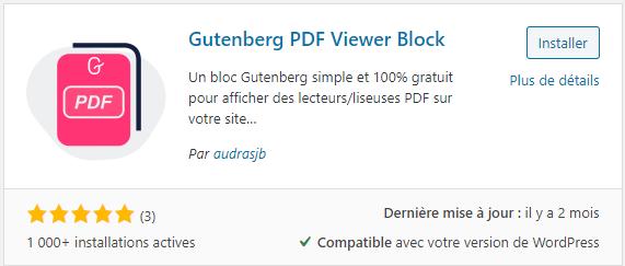 Il existe un plugin pour rajouter un blog Gutenberg dédié aux PDF sur WordPress : Gutenberg PDF Viewer Block